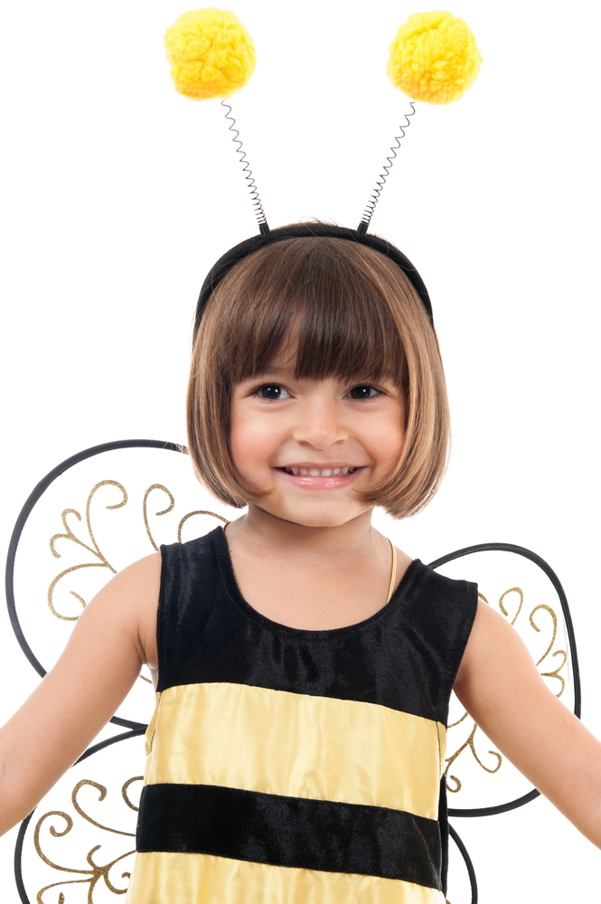 Pest control themed costumes can be adorable, like this cute bee!